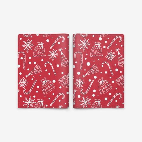 Обложка для паспорта «Зимный снежный узор со снежинками и яркими новогодними подарками»