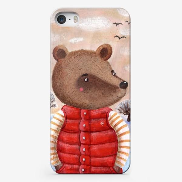 Чехол iPhone «Мишка в красном жилете»