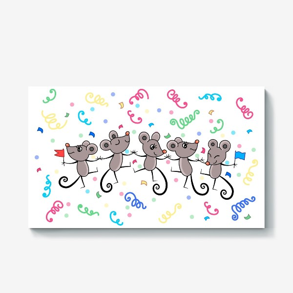 Холст «Мышиный праздничный хоровод»