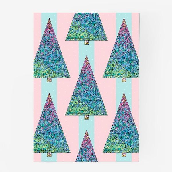 Постер «Елки кристаллы геометрические»