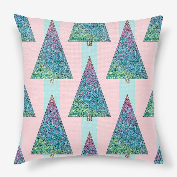 Подушка «Елки кристаллы геометрические»