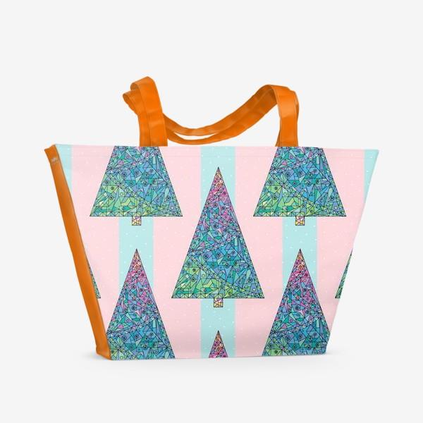 Пляжная сумка «Елки кристаллы геометрические»
