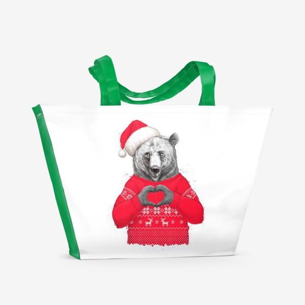 Пляжная сумка «Новогодний медведь»