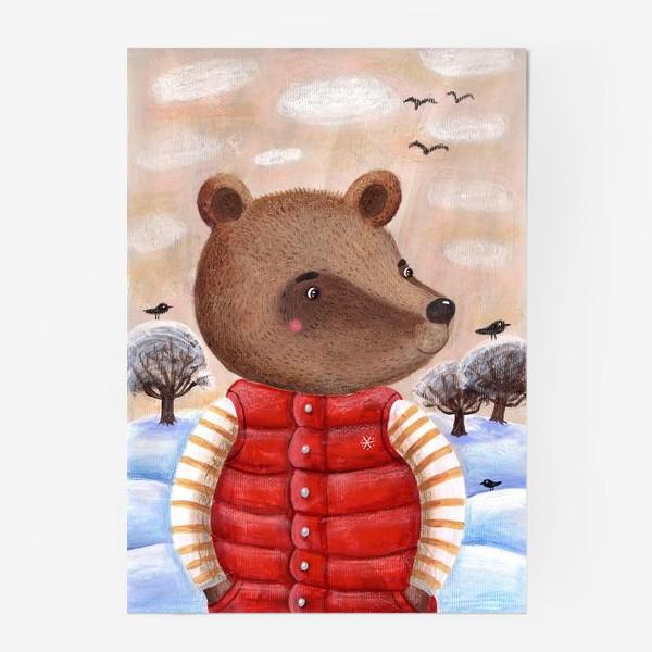 Постер «Мишка в красном жилете»