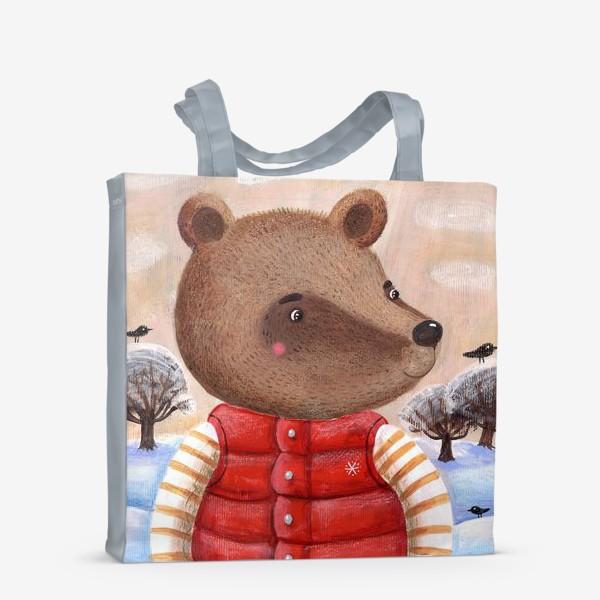 Сумка-шоппер «Мишка в красном жилете»