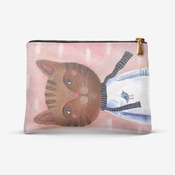 Косметичка «Кот на розовом фоне»