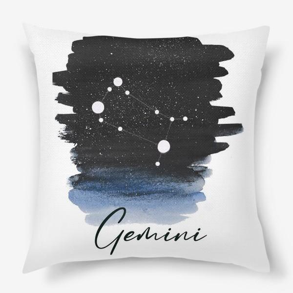 Подушка «Созвездие Близнецы. Звездное небо. Акварель»