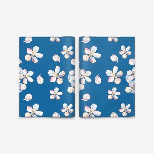 Обложка для паспорта «Нежный цветочный паттерн Цветы яблони на синем фоне»