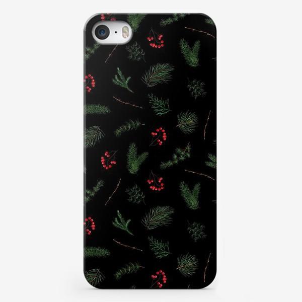 Чехол iPhone «новогодний акварельный паттерн, зимний лес. еловые и сосновые ветки»