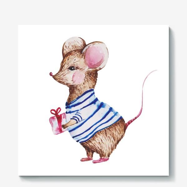 Холст «Мышь с подарком»