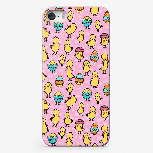 Чехол iPhone «Пасхальный розовый паттерн для девочки с яйцами и цыплятами»