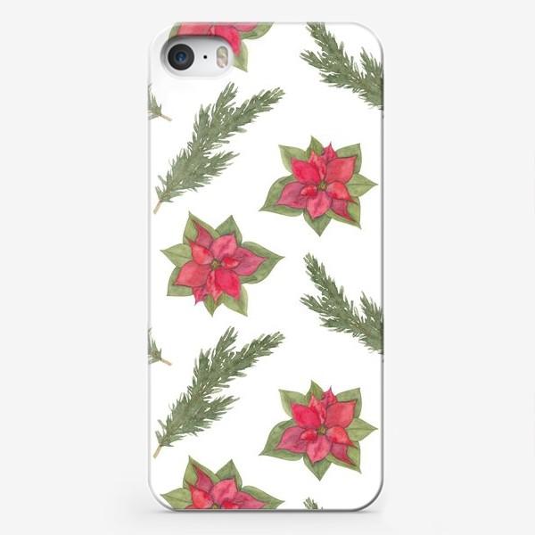 Чехол iPhone «Пуансеттия (рождественская звезда), красный зимний цветок и ветки новогодней ели. Акварельный паттерн на белом фоне»