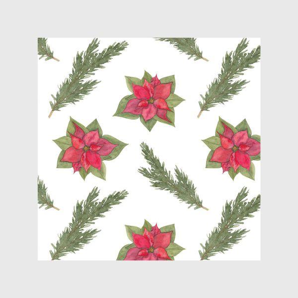 Шторы «Пуансеттия (рождественская звезда), красный зимний цветок и ветки новогодней ели. Акварельный паттерн на белом фоне»