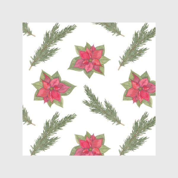Скатерть «Пуансеттия (рождественская звезда), красный зимний цветок и ветки новогодней ели. Акварельный паттерн на белом фоне»