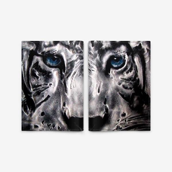 Обложка для паспорта «тигр с голубыми глазами»