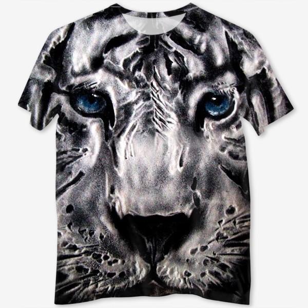 Футболка с полной запечаткой «тигр с голубыми глазами»