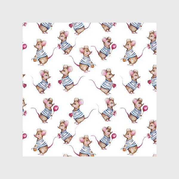 Шторы «Акварельные мыши паттерн»