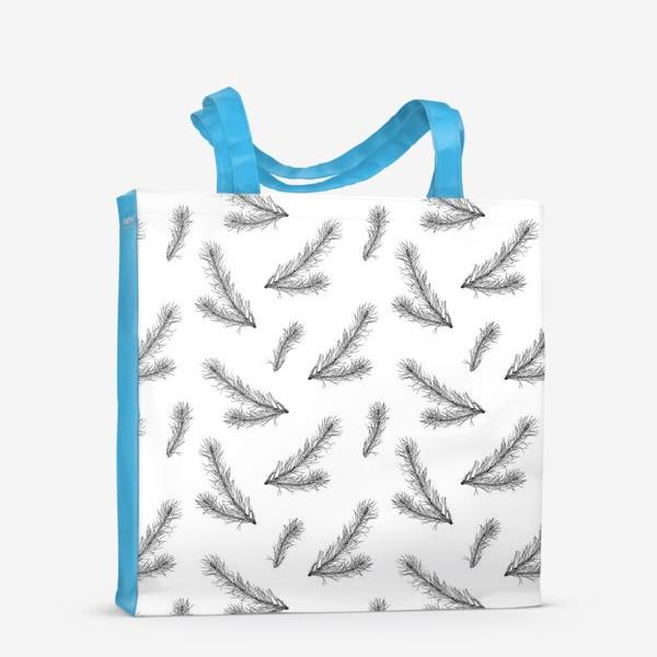 Сумка-шоппер «Ветви ели, черно-белая ботаническая иллюстрация, графика, линейный рисунок, монохромный паттерн на белом фоне»