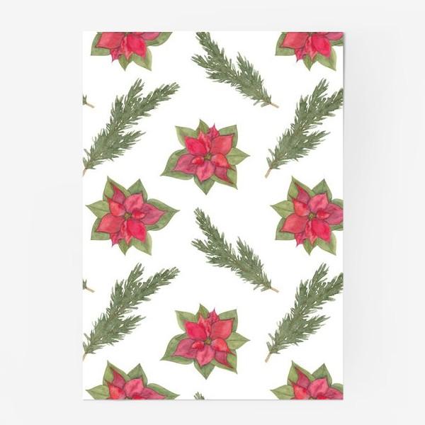Постер «Пуансеттия (рождественская звезда), красный зимний цветок и ветки новогодней ели. Акварельный паттерн на белом фоне»