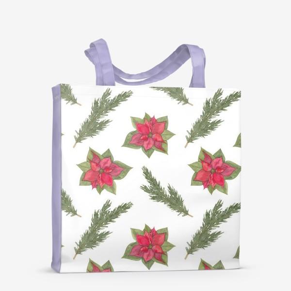 Сумка-шоппер «Пуансеттия (рождественская звезда), красный зимний цветок и ветки новогодней ели. Акварельный паттерн на белом фоне»