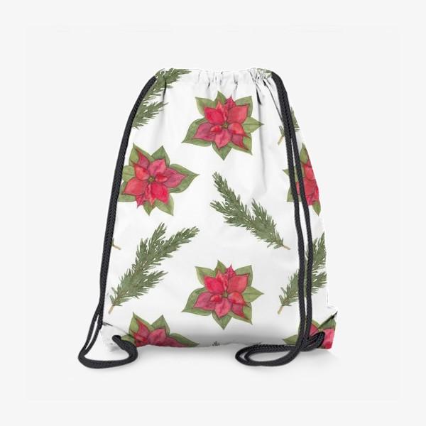 Рюкзак «Пуансеттия (рождественская звезда), красный зимний цветок и ветки новогодней ели. Акварельный паттерн на белом фоне»