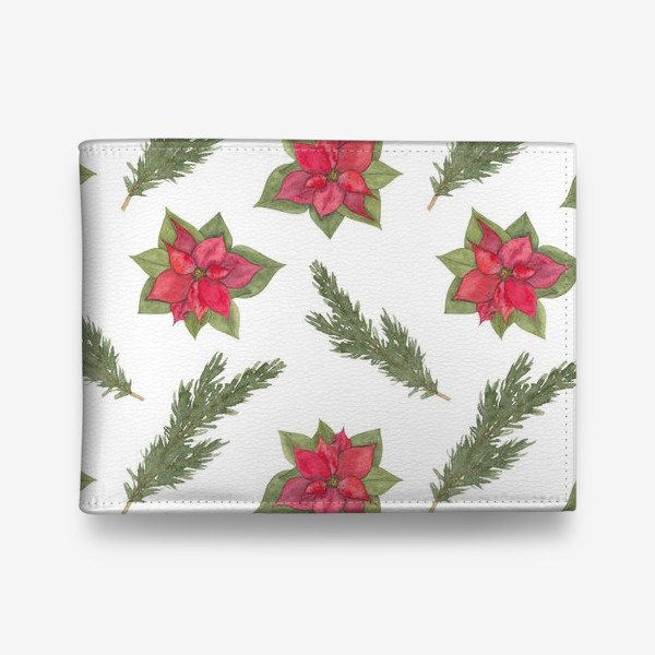 Кошелек «Пуансеттия (рождественская звезда), красный зимний цветок и ветки новогодней ели. Акварельный паттерн на белом фоне»