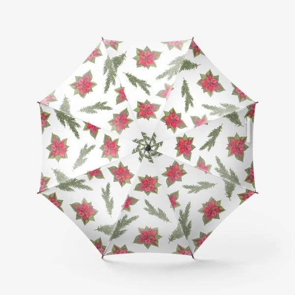 Зонт «Пуансеттия (рождественская звезда), красный зимний цветок и ветки новогодней ели. Акварельный паттерн на белом фоне»