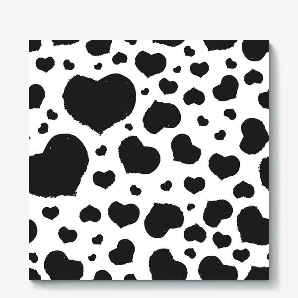 Холст «Черные сердечки ко дню Влюбленных »