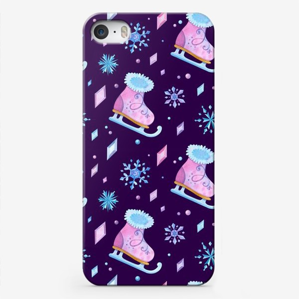 Чехол iPhone «Девичьи коньки, ледяные кристаллы и снежинки. Акварельный паттерн»