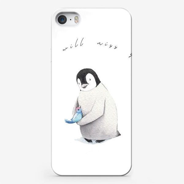 Чехол iPhone «Пингвин с птичкой I miss you»