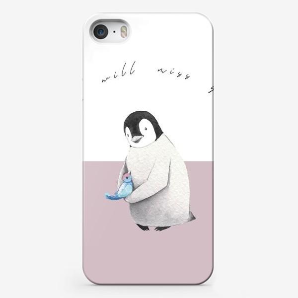 Чехол iPhone «Пингвин с птичкой I miss you на пастельном фоне»