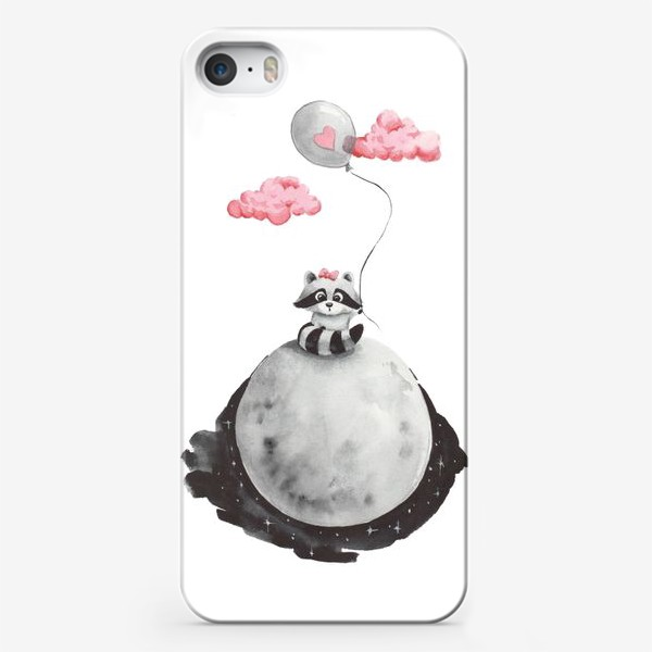 Чехол iPhone «Енот-девочка на луне с воздушным шаром»