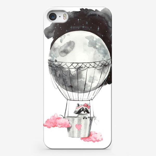 Чехол iPhone «Енот-девочка на воздушном шаре-луне»