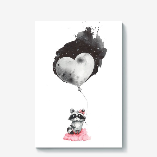 Холст «Енот-девочка с воздушным шаром-луной»