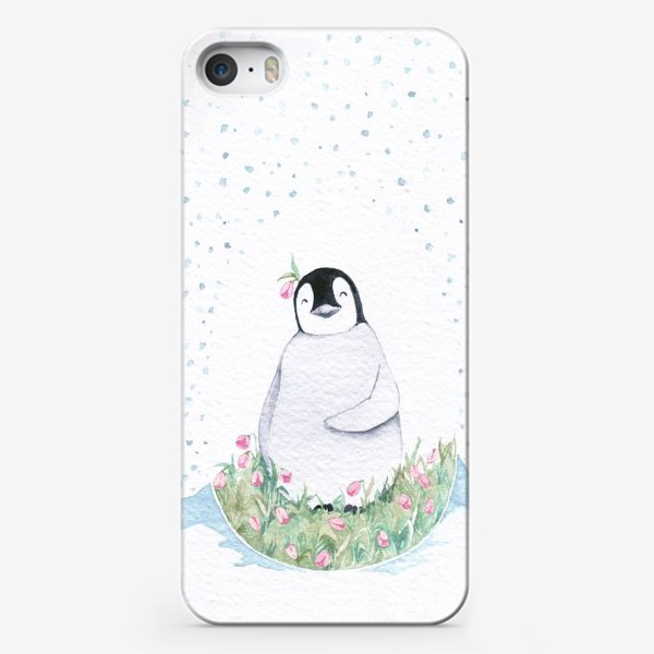 Чехол iPhone «Пингвин в яйце из цветов »