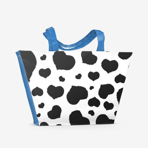 Пляжная сумка «Черные сердечки ко дню Влюбленных »