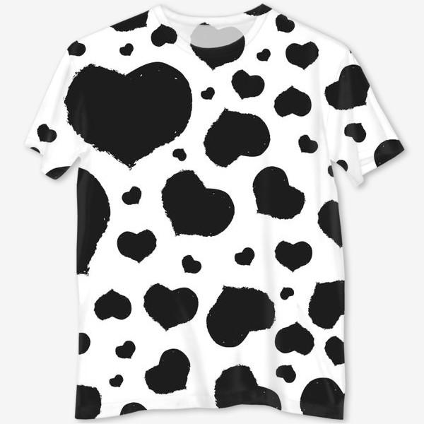 Футболка с полной запечаткой «Черные сердечки ко дню Влюбленных »