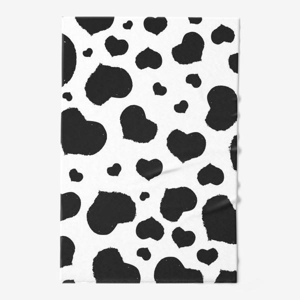 Полотенце «Черные сердечки ко дню Влюбленных »