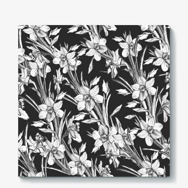 Холст «Нарциссы черно-белые, карандашная графика»