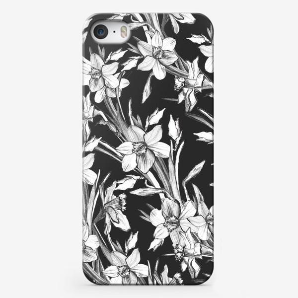 Чехол iPhone «Нарциссы черно-белые, карандашная графика»