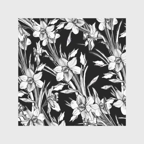 Шторы «Нарциссы черно-белые, карандашная графика»