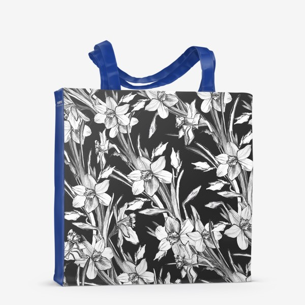 Сумка-шоппер «Нарциссы черно-белые, карандашная графика»