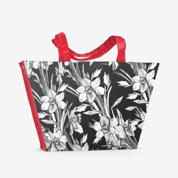 Пляжная сумка «Нарциссы черно-белые, карандашная графика»
