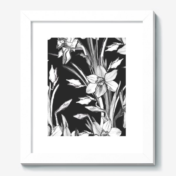 Картина «Нарциссы черно-белые, карандашная графика»