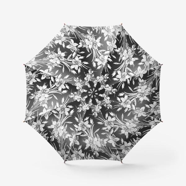 Зонт «Нарциссы черно-белые, карандашная графика»