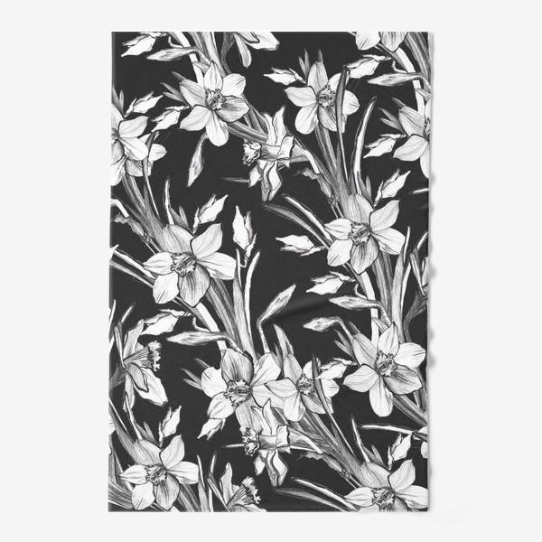 Полотенце «Нарциссы черно-белые, карандашная графика»