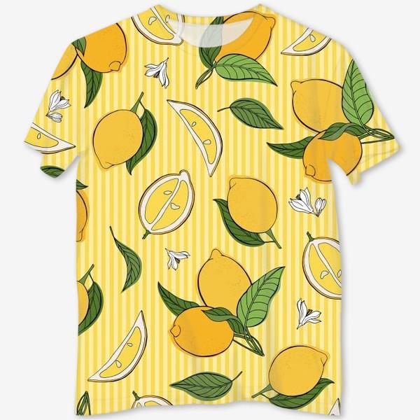 Футболка с полной запечаткой «Який принт с лимонами»