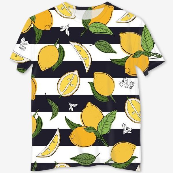 Футболка с полной запечаткой «Принт с лимонами на полосатом фоне»