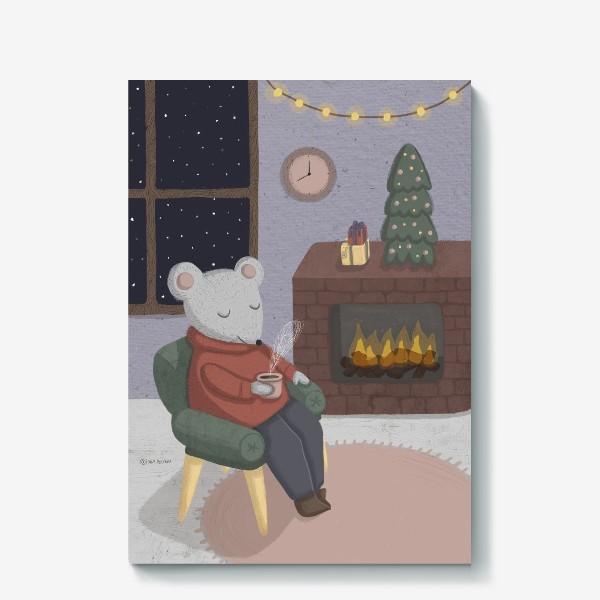 Холст «Новогодняя мышка в уютной комнате»