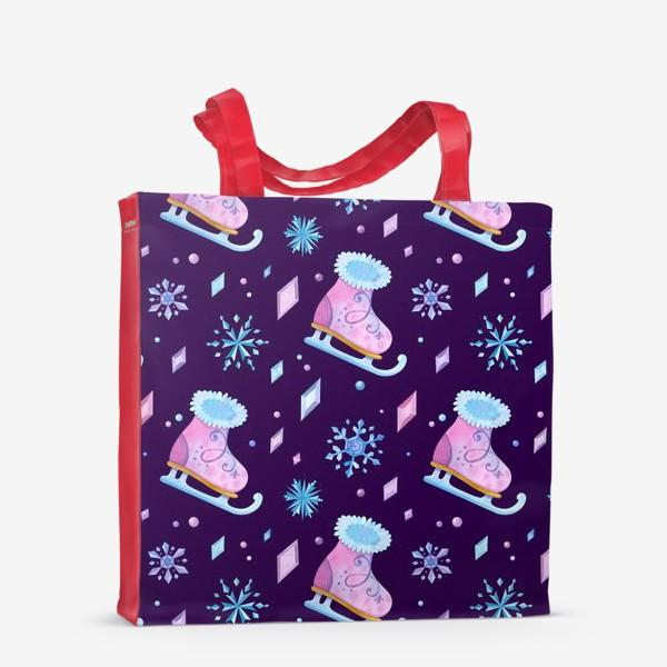 Сумка-шоппер «Девичьи коньки, ледяные кристаллы и снежинки. Акварельный паттерн»